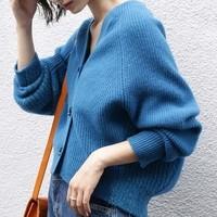 ブルーのカーディガン!秋ファッションに加えたいアクセントカラー♪