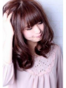 ピンクなヘアカラー①>定番なピンクブラウン♡