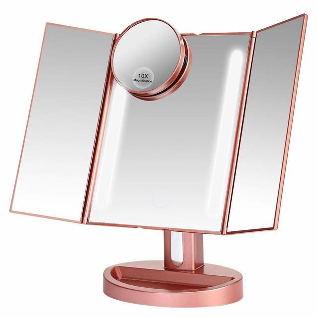 LEEPWEI 化粧鏡 女優ミラー 鏡 卓上 LED三面鏡 折りたたみ式