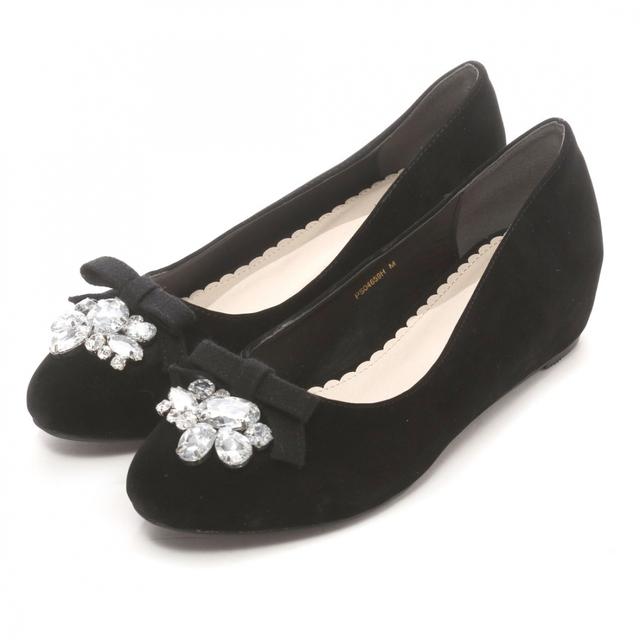 RANDAのおすすめビジュー靴①▷ビジューリボンインヒールパンプス
