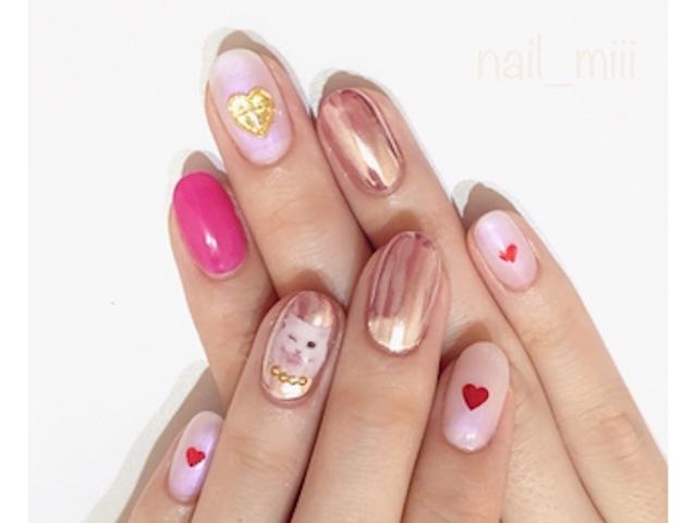 バレンタインネイル③ 赤やピンクを基調としたネイル♡