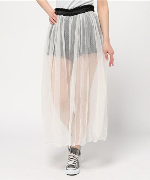 大人の色気漂う♡ひざ下丈スカートは透け感重視!その7